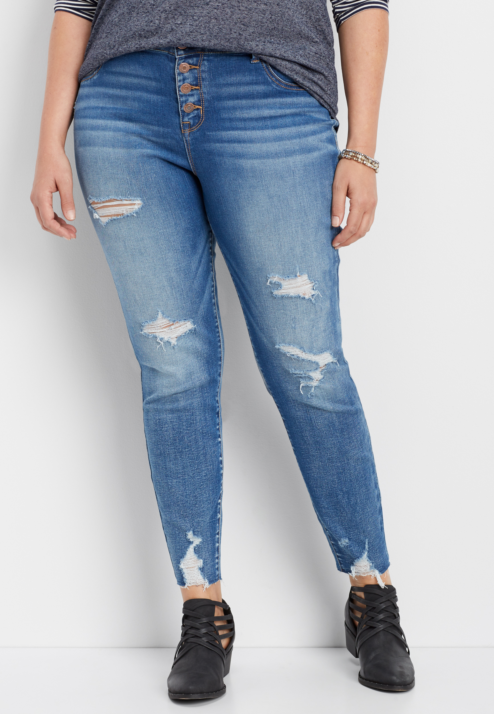79904241afe plus size DenimFlex™ high rise button fly destructed jegging | maurices