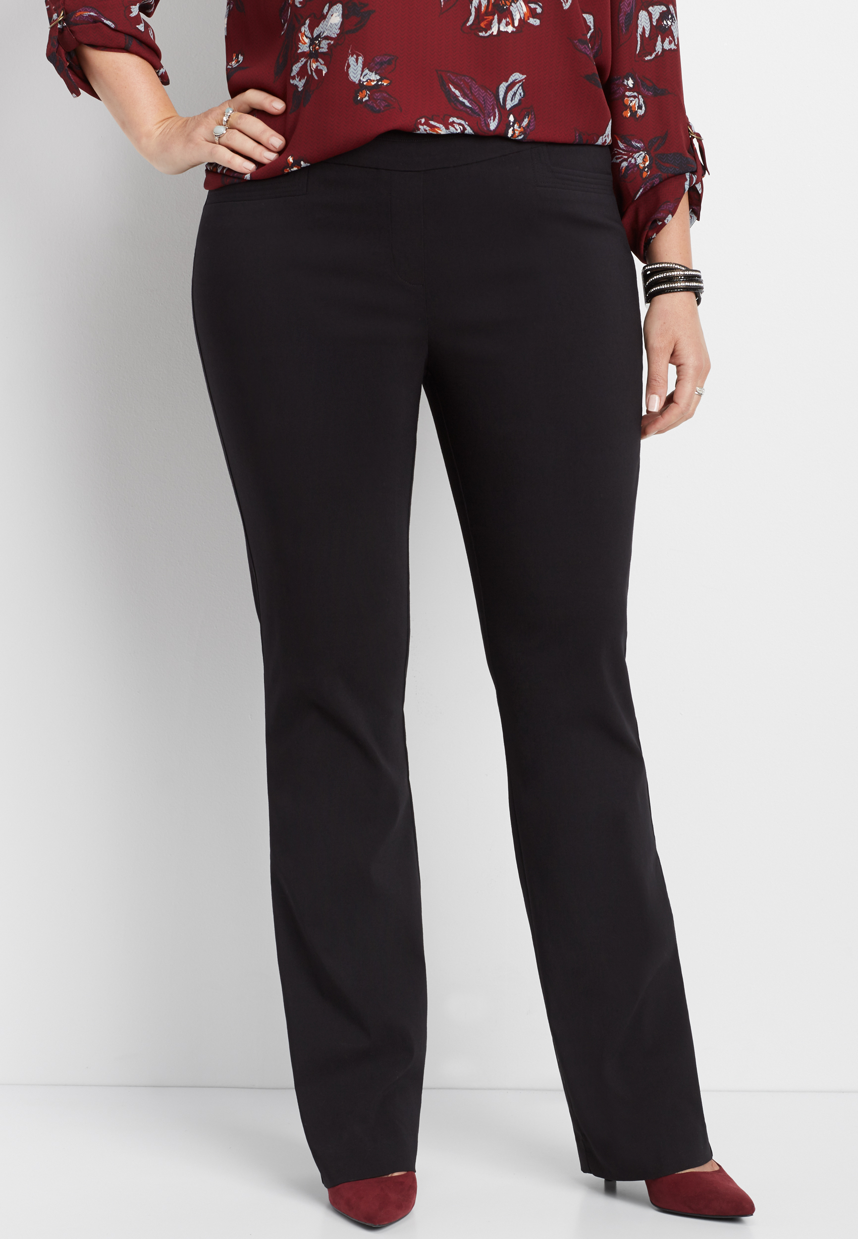76a533117c plus size black stretch pull on bootcut pant | maurices