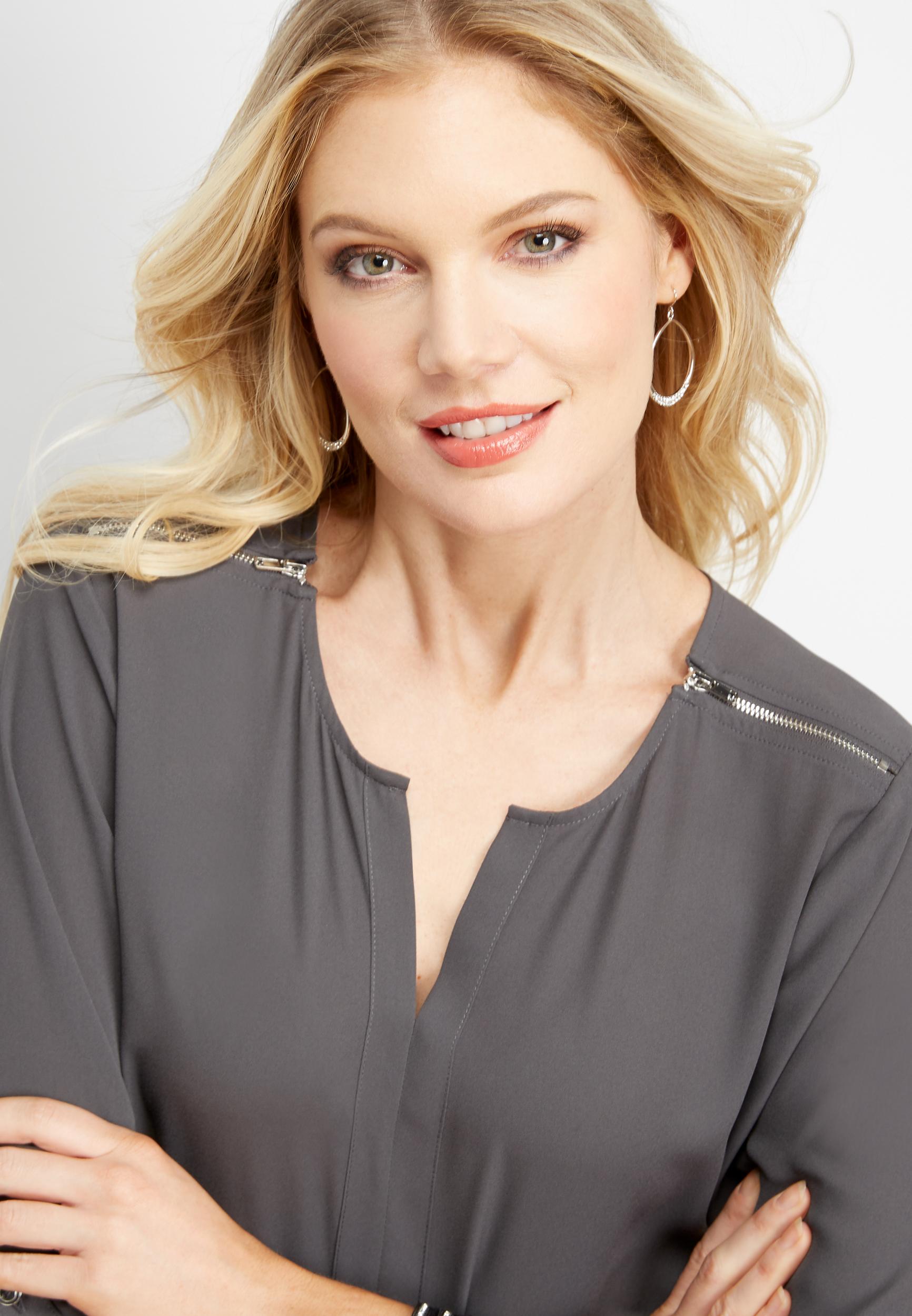 solid zip shoulder blouse