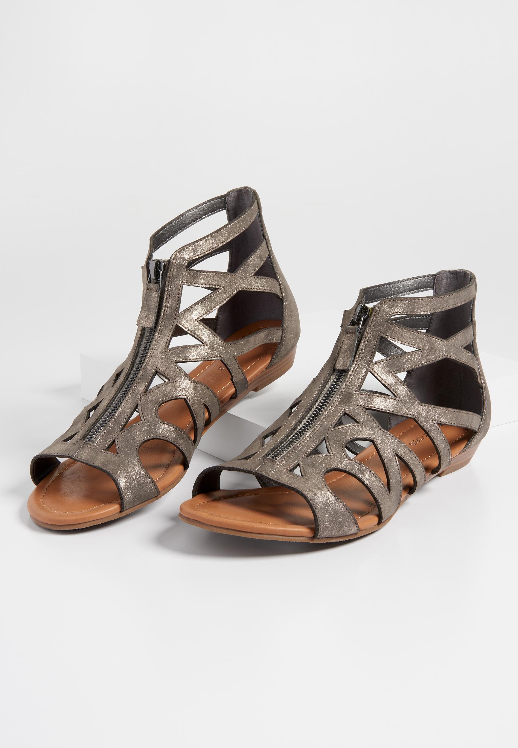 a624fd167301 Alora zip front gladiator sandal