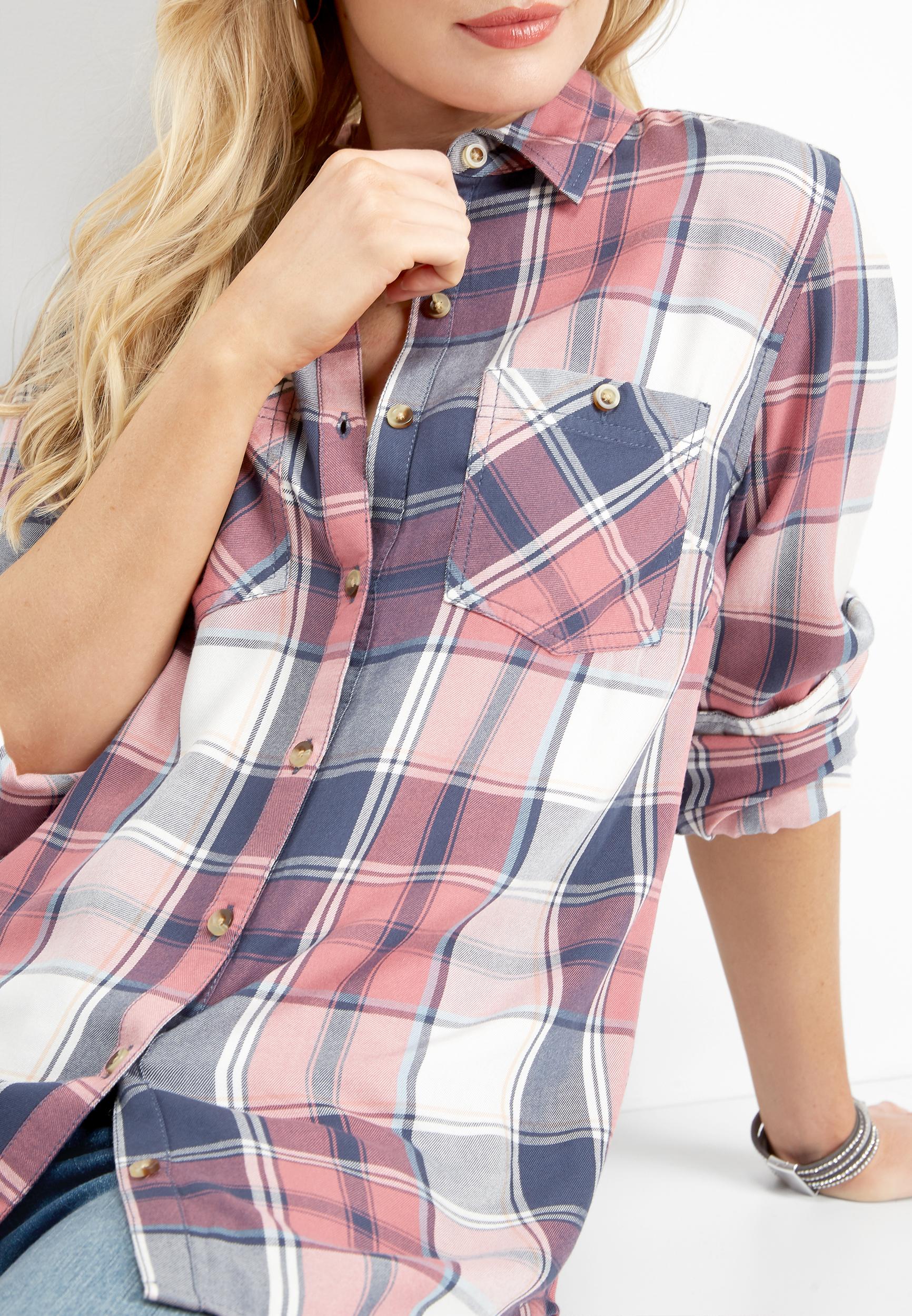 plaid round hem button down shirt