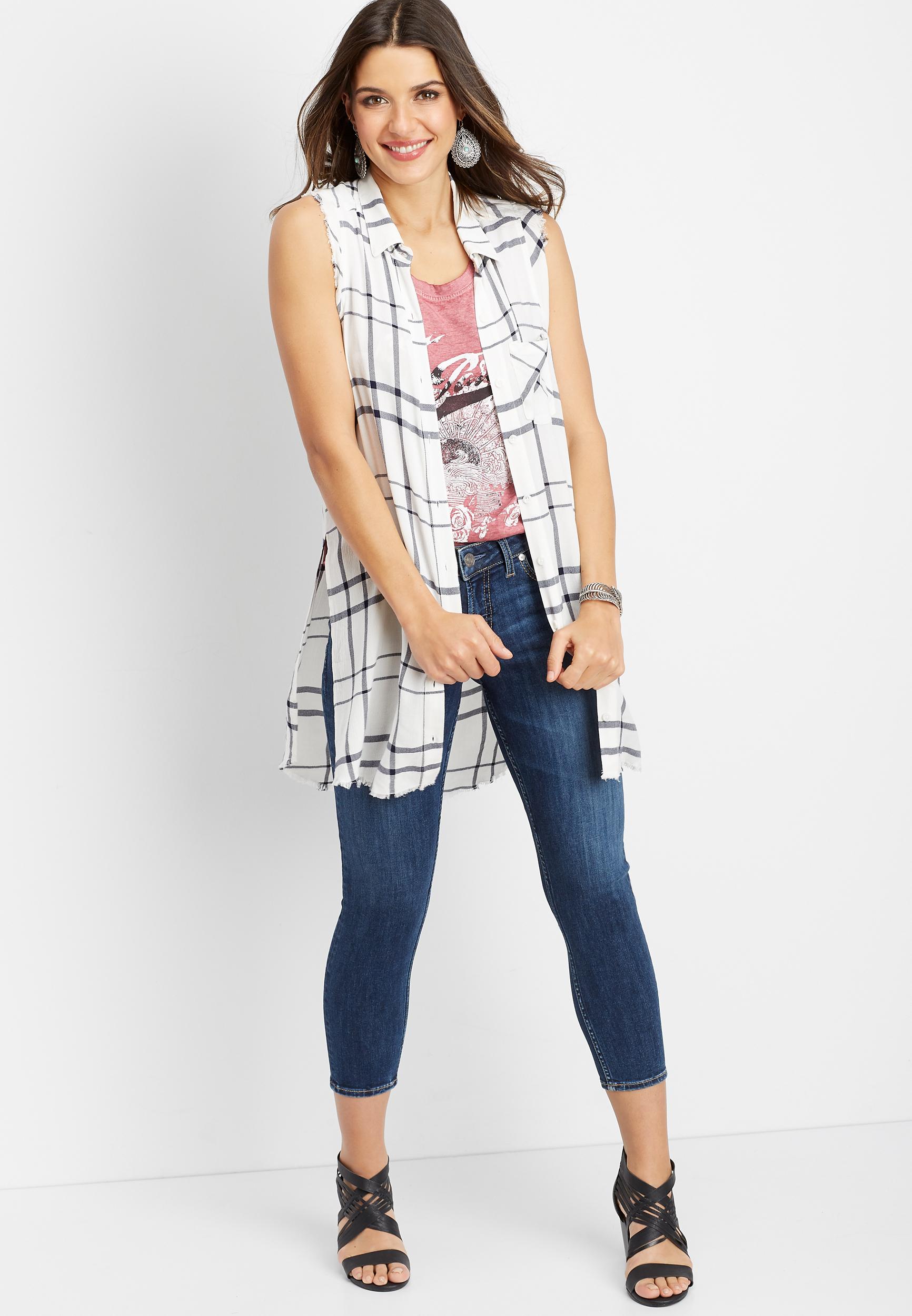 268aab0beb Silver Jeans Co.® white sleeveless plaid button down shirt