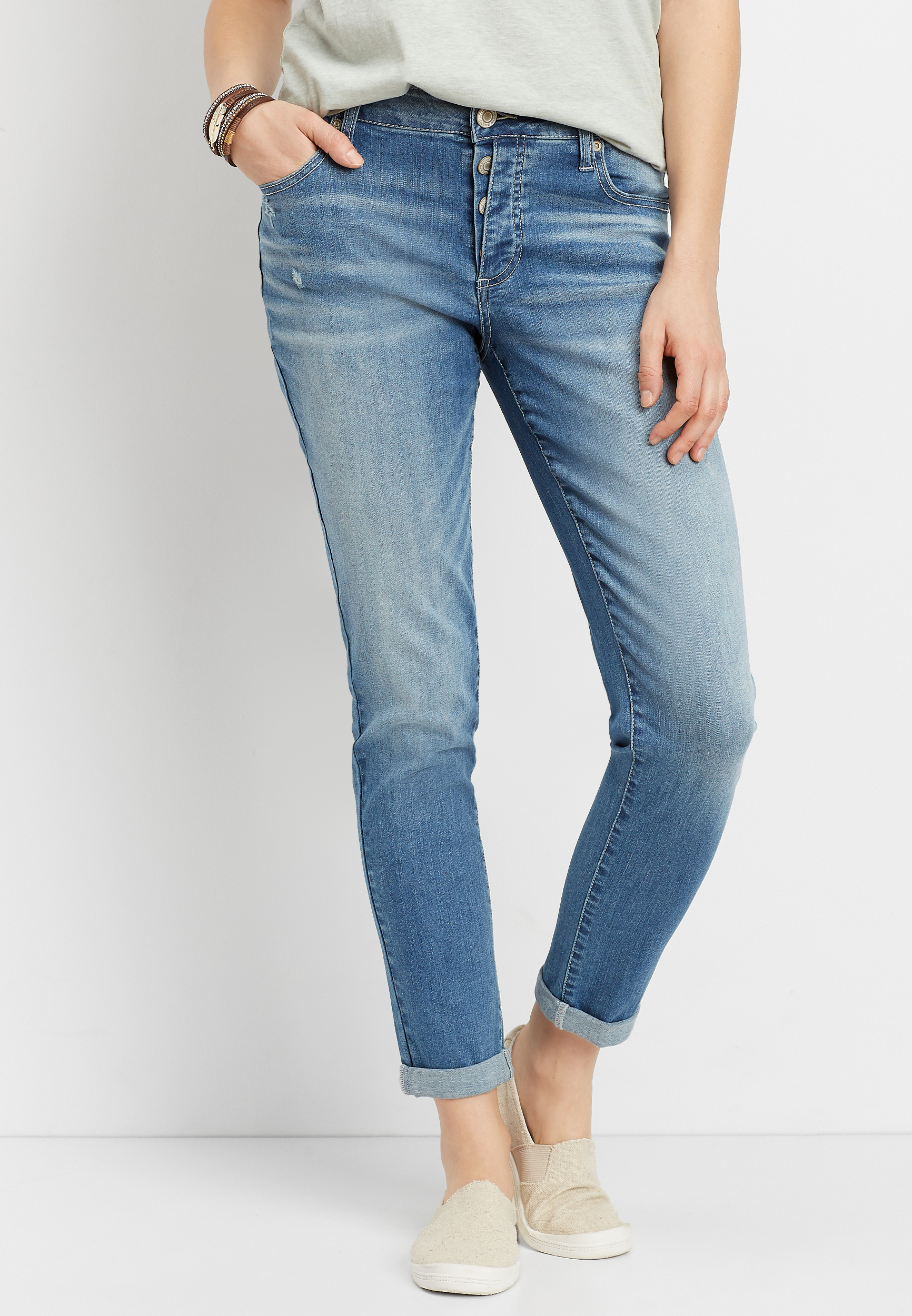 eef5286c3bb8d DenimFlex™ exposed button fly boyfriend jean