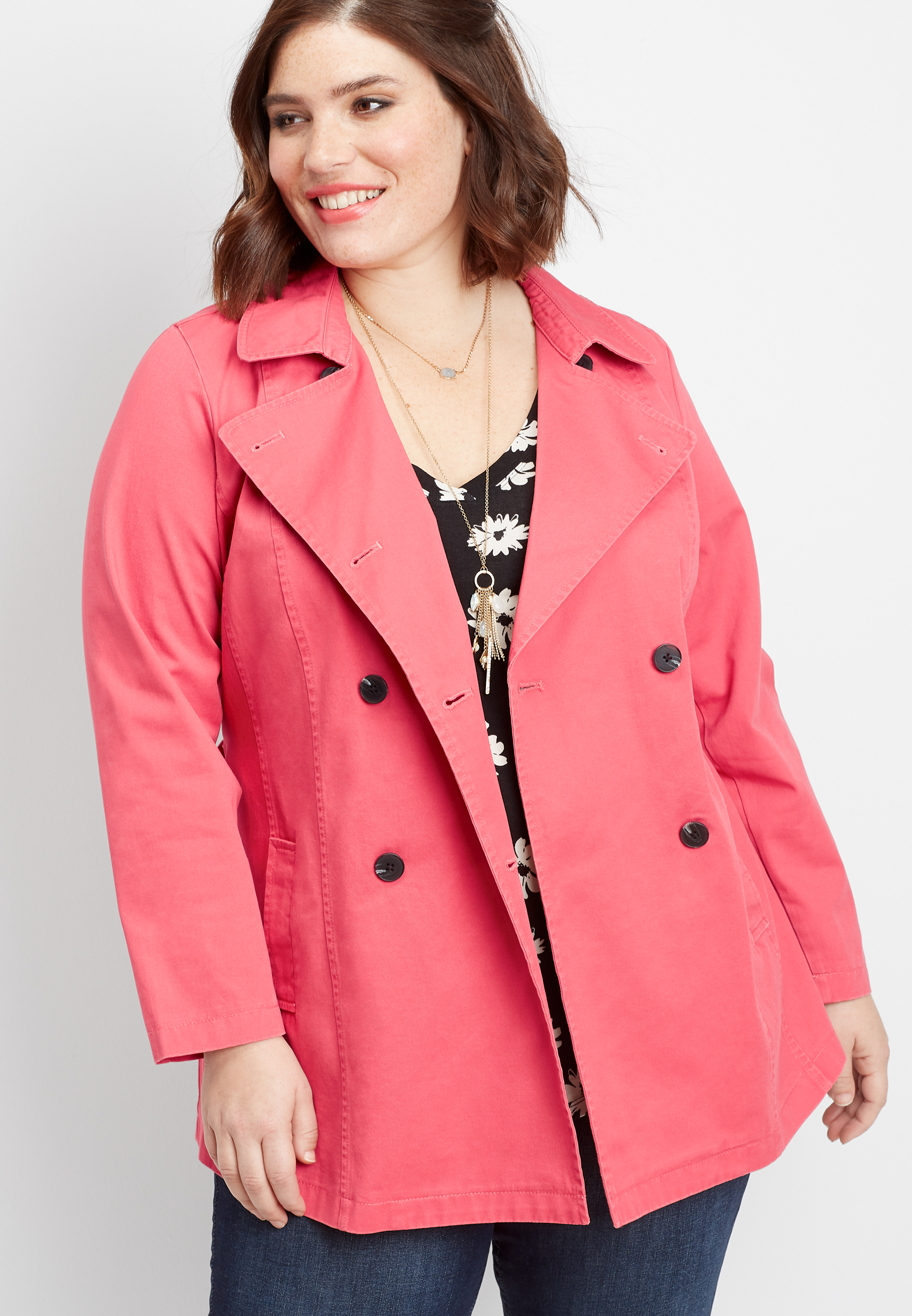 plus size button down trench coat | maurices