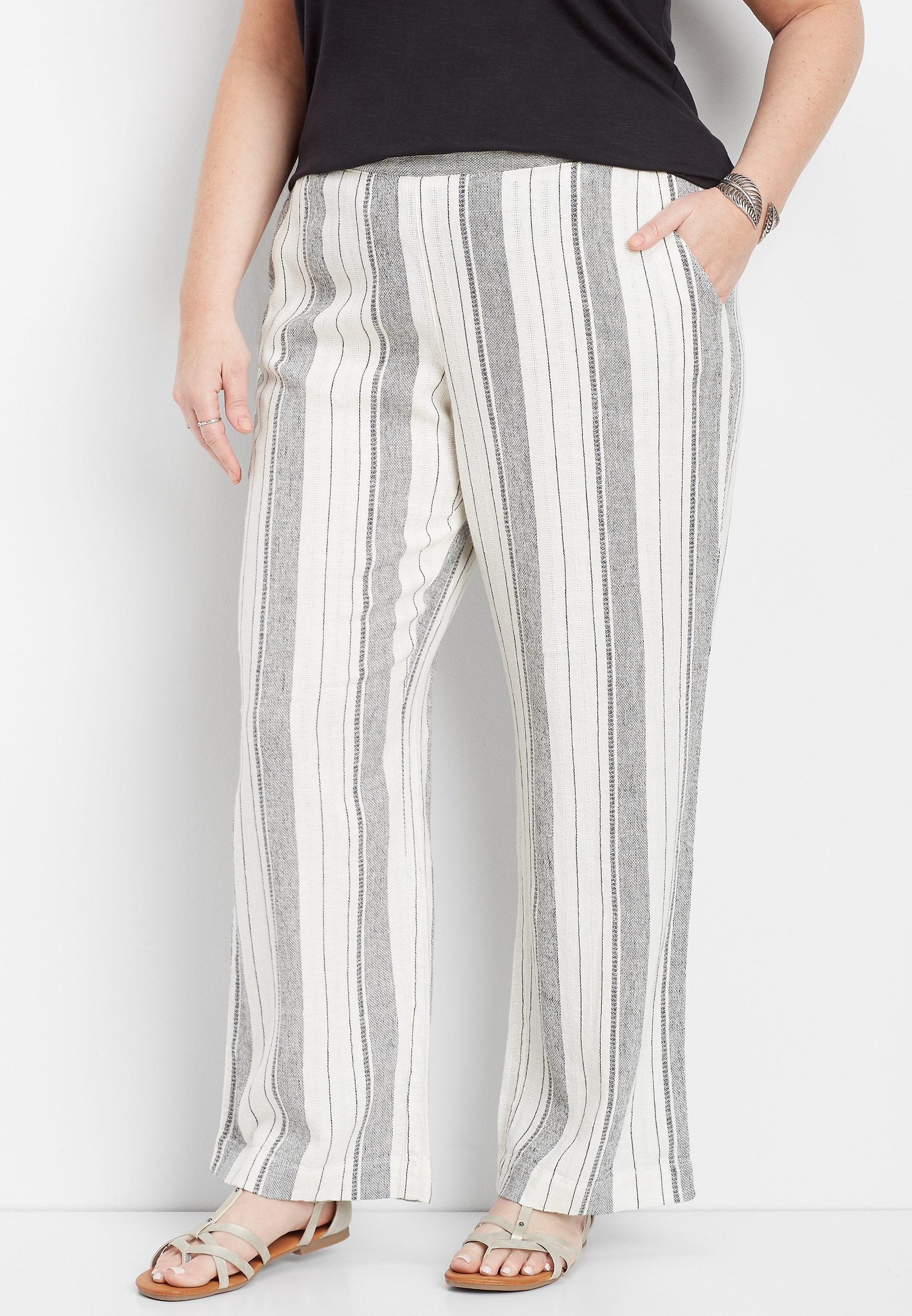 plus size linen white stripe pull on wide leg pant | maurices