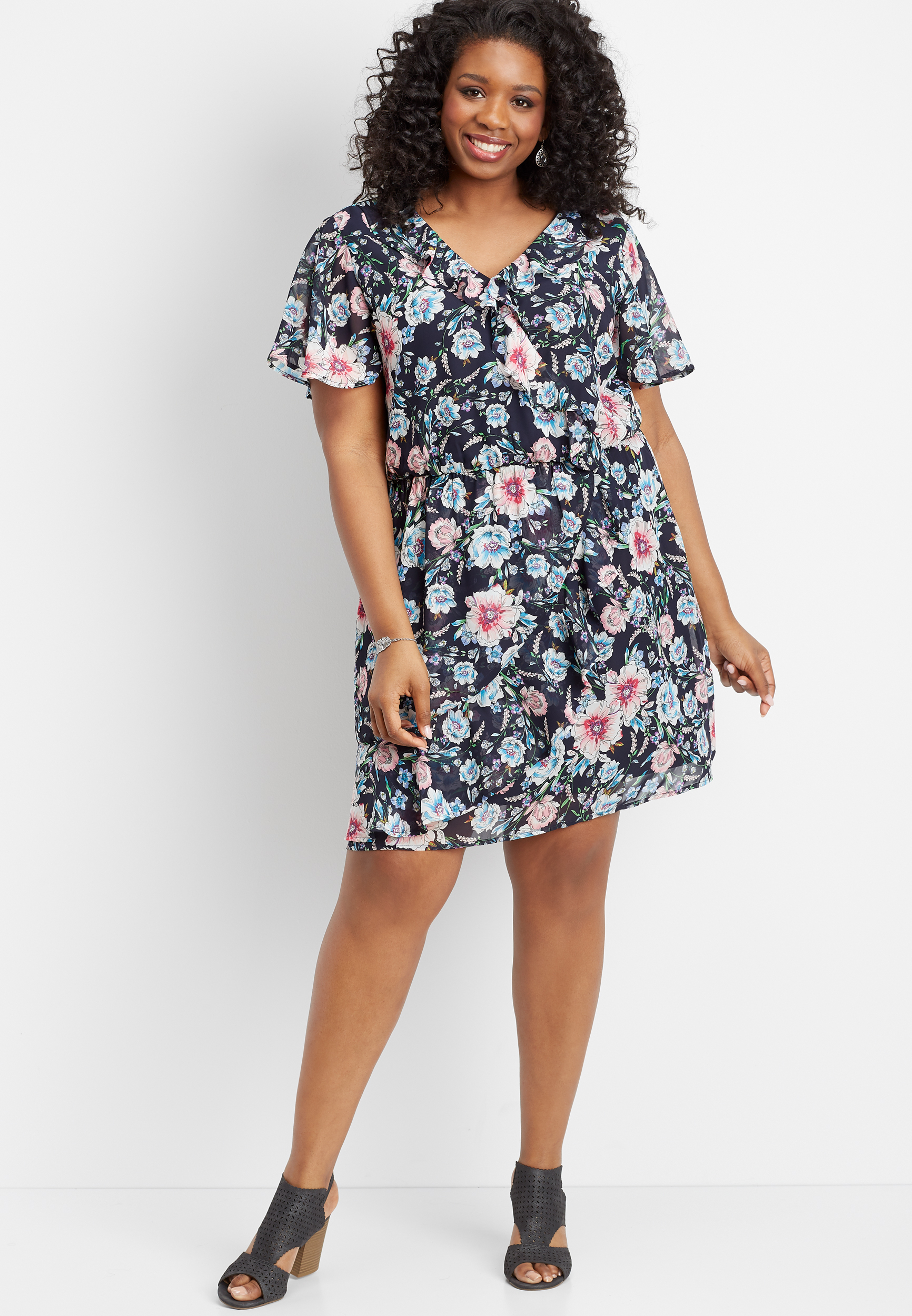 plus size floral ruffled wrap front dress | maurices