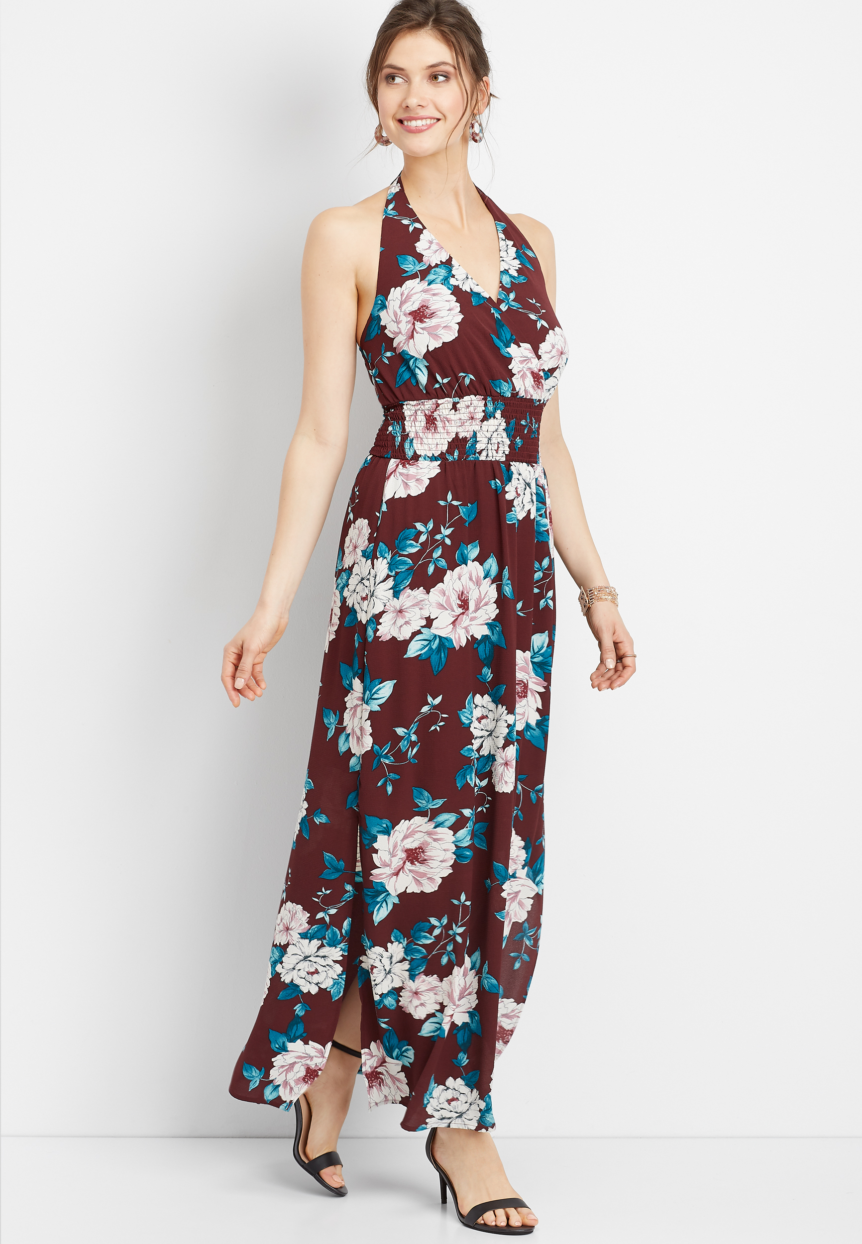 50d3975441 floral halter top maxi dress | maurices