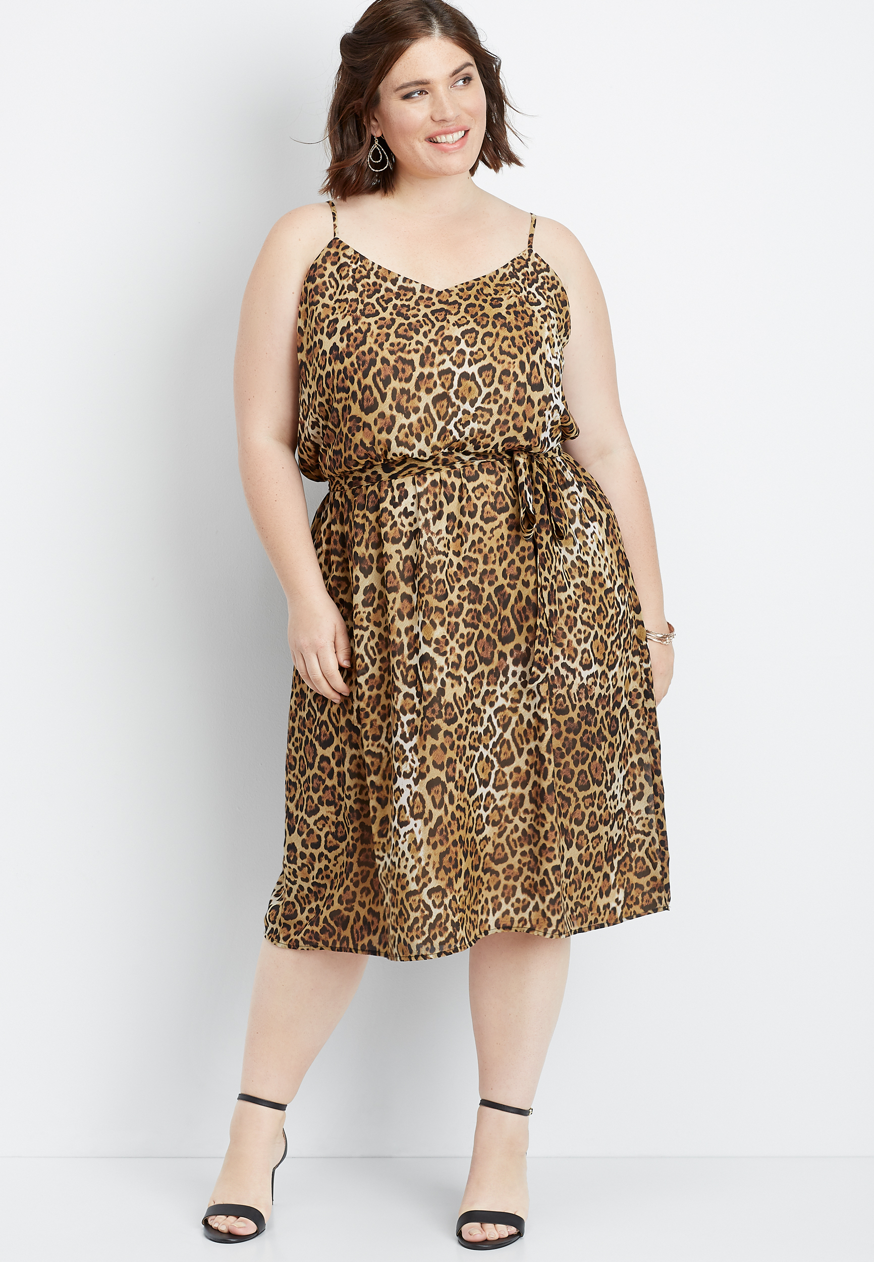 plus size animal print tie front dress | maurices