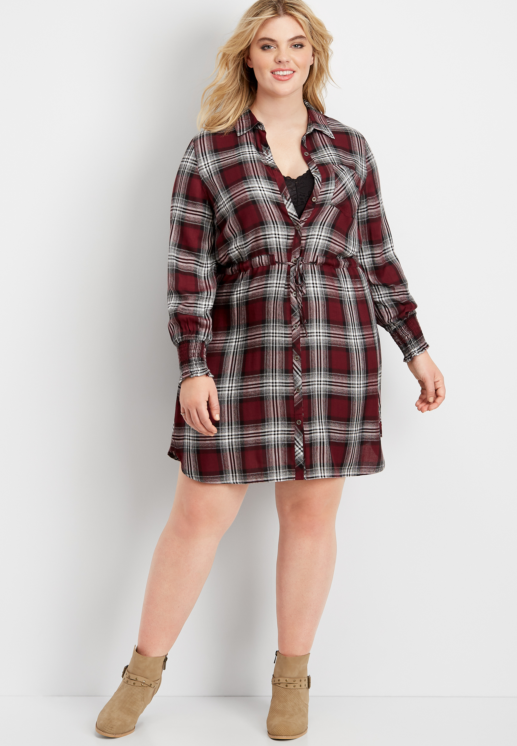 plus size plaid button down shirt dress