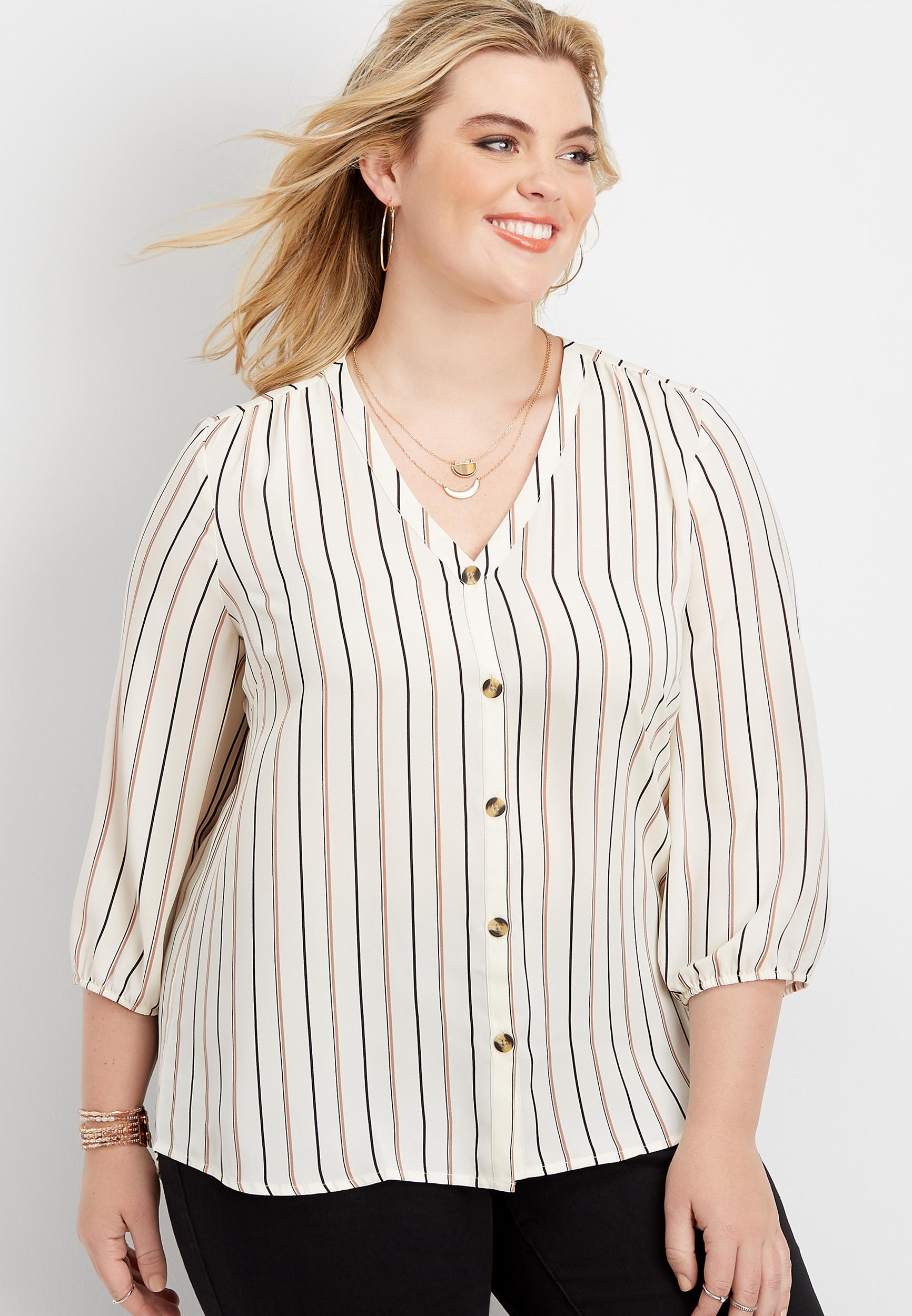 plus size striped button down blouse