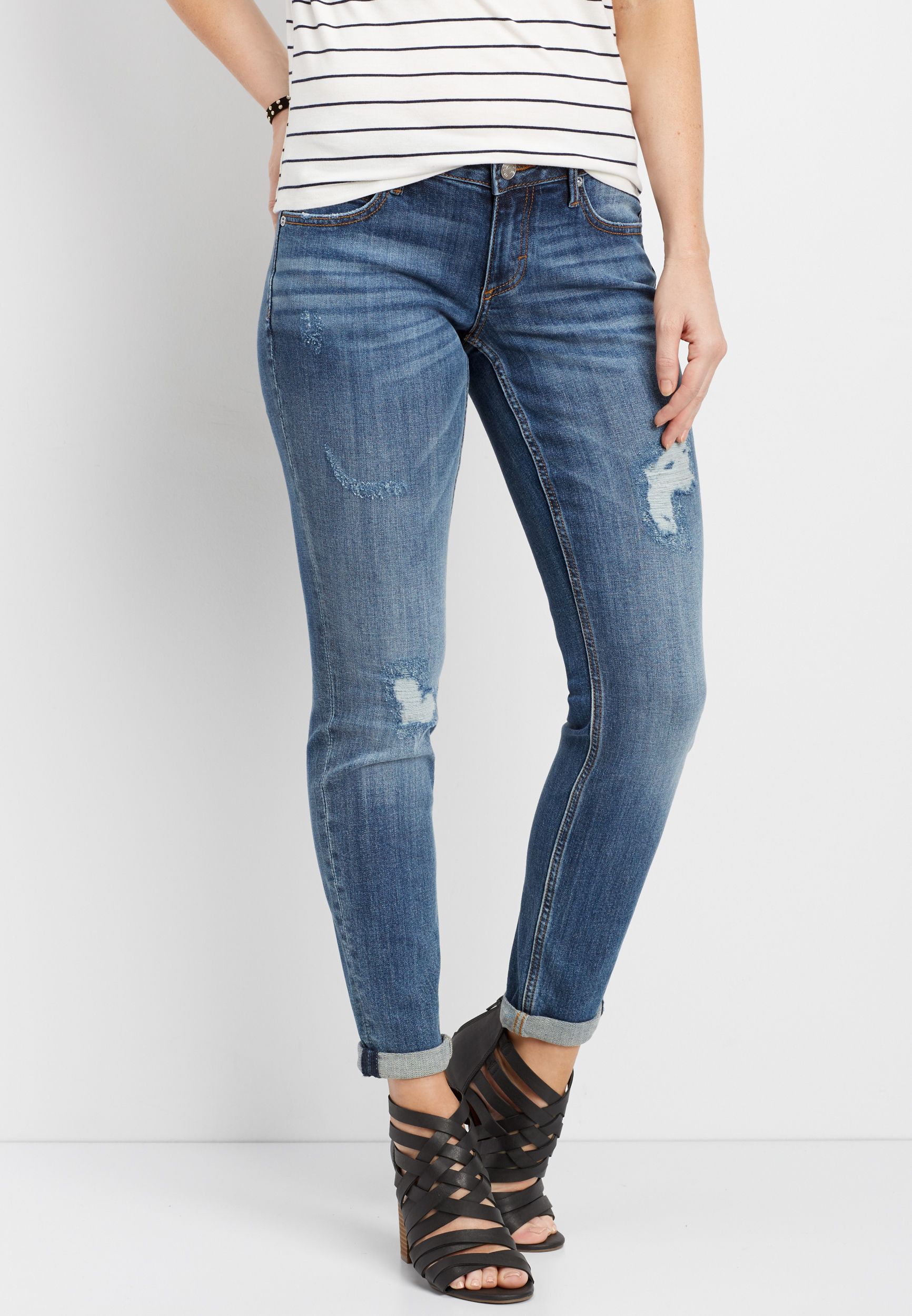 Cuffed Skinny Jeans With Destruction by Maurices