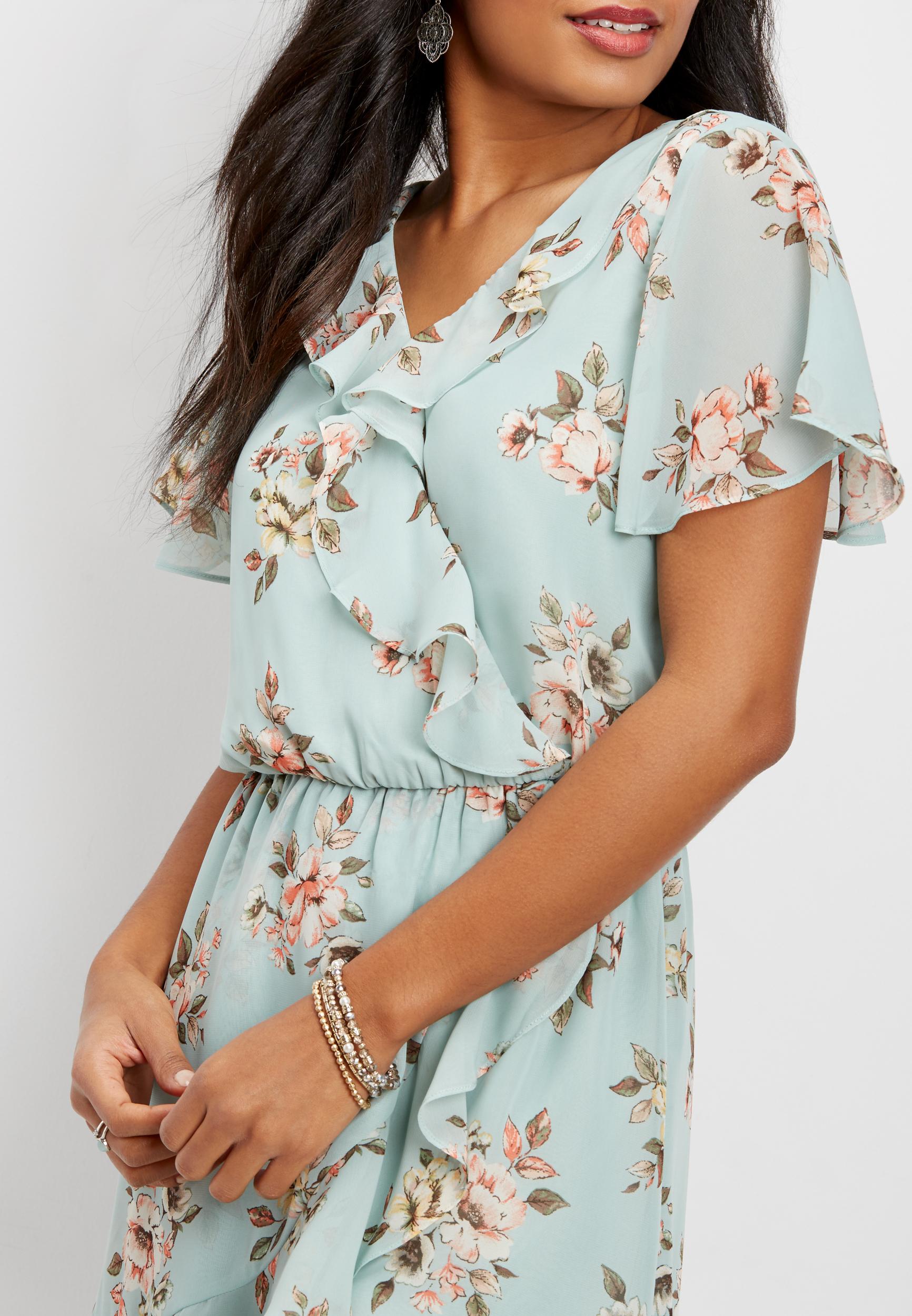 d84494609ad flutter sleeve floral chiffon wrap dress   maurices