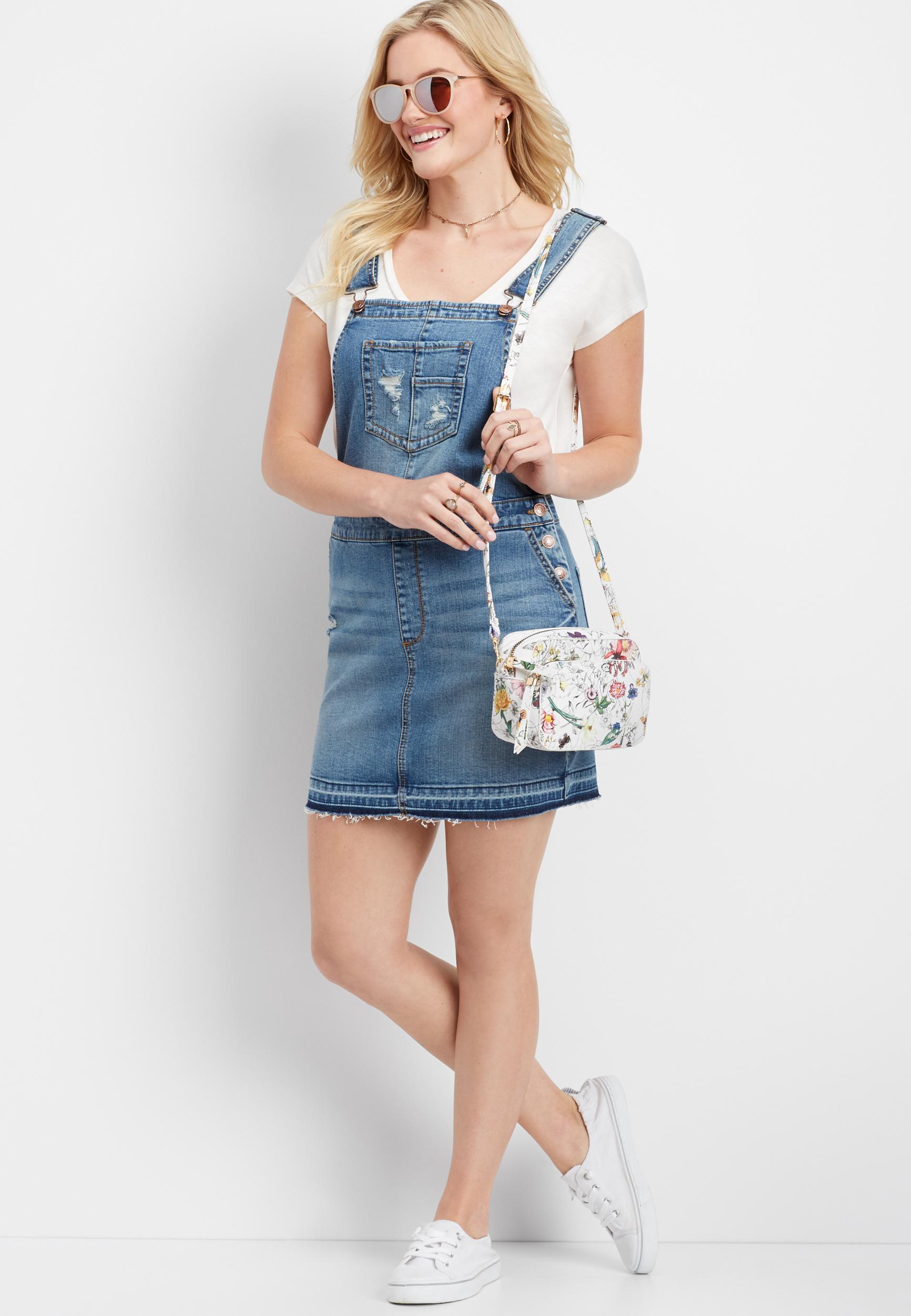Denim Flex™ Medium Wash Skirt Overall by Maurices
