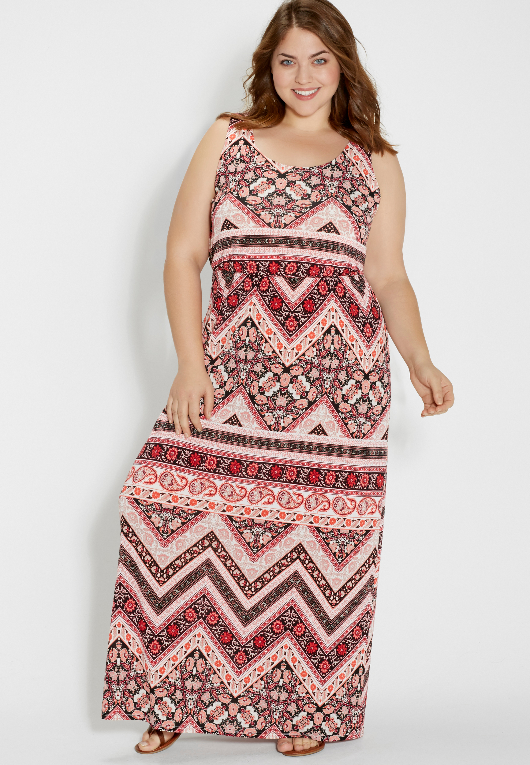 8d402783a7c36 plus size maxi dress with strappy back in floral chevron print | maurices