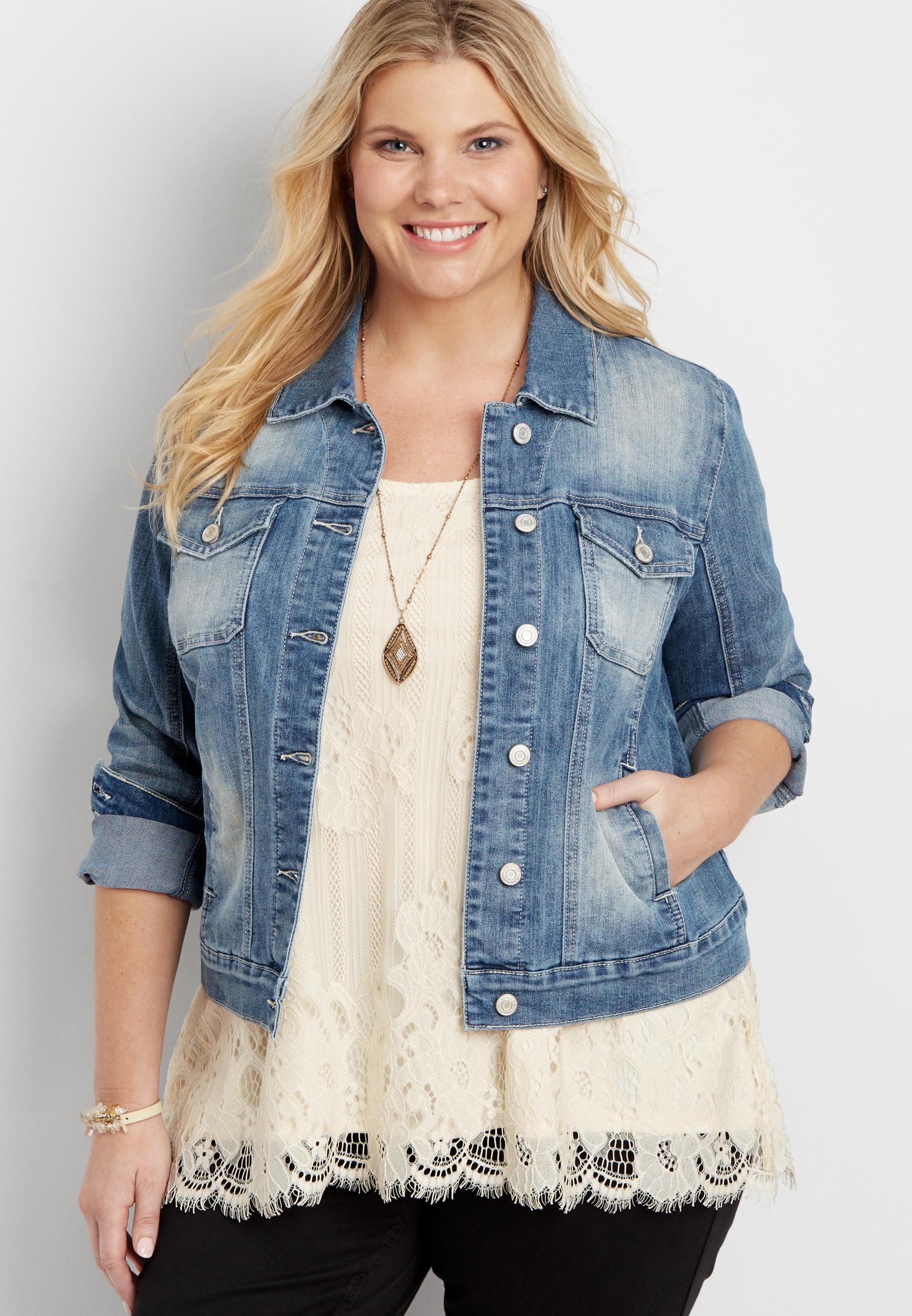 cc63c33d plus size denim jacket in sandblasted light wash | maurices