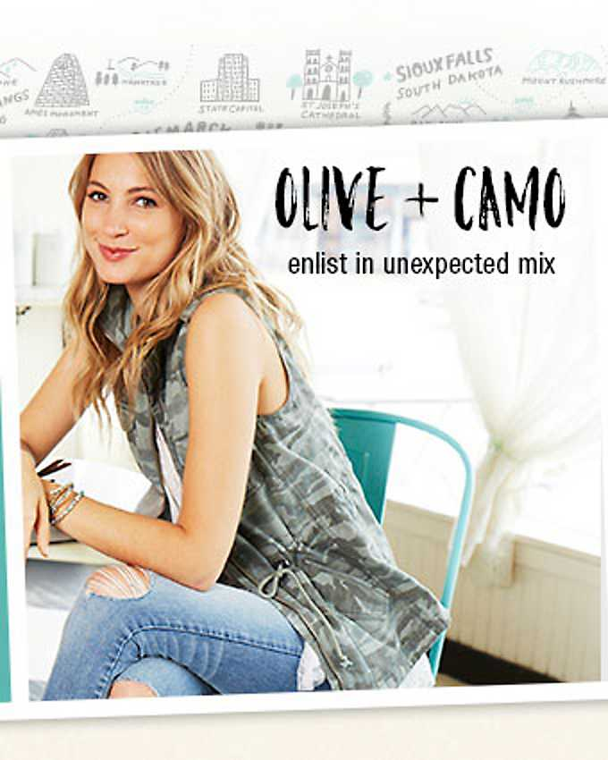 Olive + camo - enlist in an unexpected mix - shop the look
