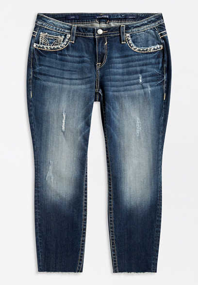 Plus Size Vigoss® Dark Wash Destructed Skinny Ankle Jean