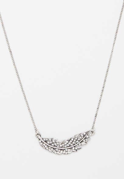 sideways feather rhinestone necklace
