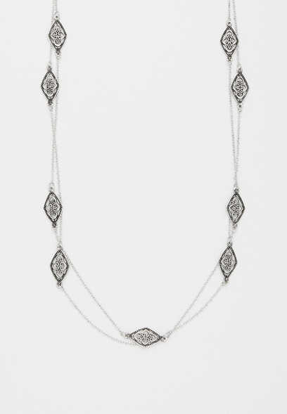metal cut out drape necklace