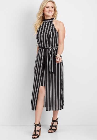 striped mock neck walkthrough dress