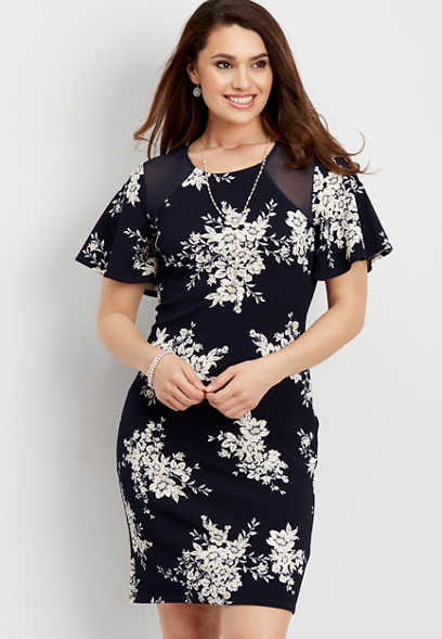 illusion puff sleeve floral dress