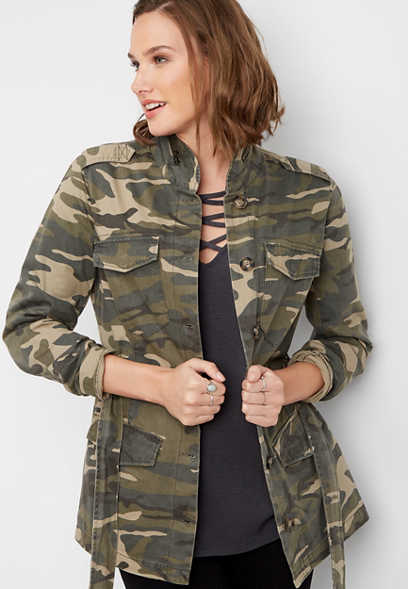 zipper neck camo jacket
