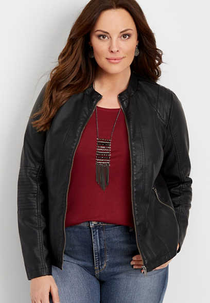plus size elbow stitched faux leather jacket