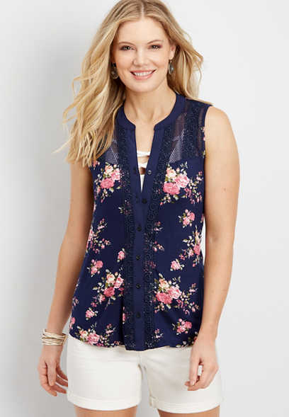 floral button down front tank