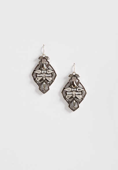 Maurices Silver Rhinestone Button Earring lDV4mliw
