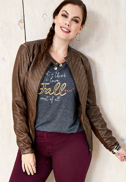 plus size pleat front faux leather jacket