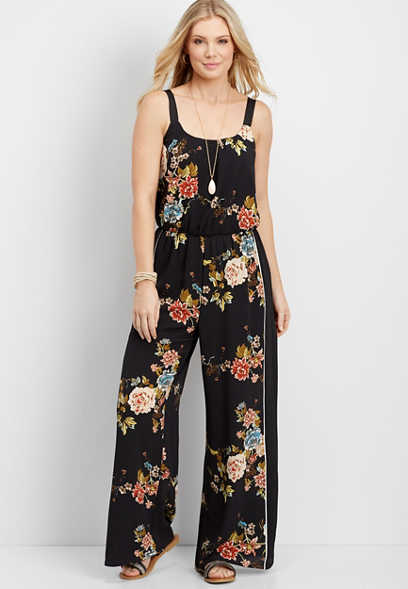 side stripe floral jumpsuit