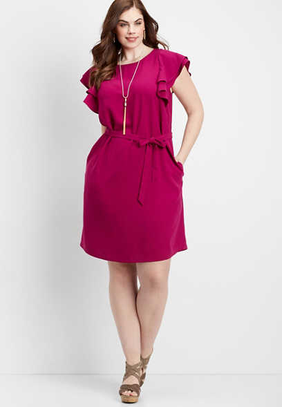 plus size ruffled sleeve tie waist dress
