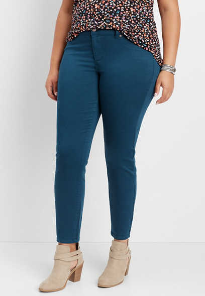plus size DenimFlex™ leafy teal jegging