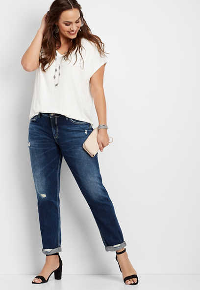 plus size Silver Jeans Co.® Sam dark wash boyfriend jean
