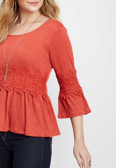crocheted bell sleeve blouse