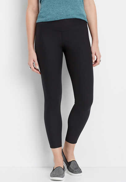 high rise 7/8 active black legging