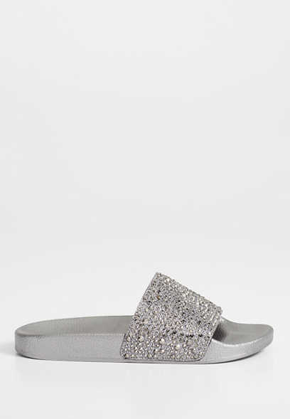 Summer rhinestone metallic slide sandal