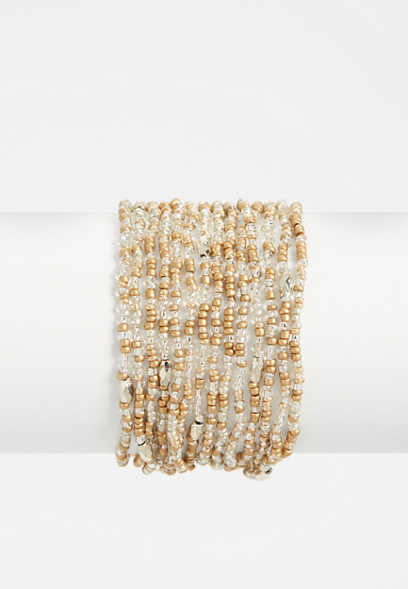 Maurices Multi Row Seed Bead Bracelet vDKF9ABD