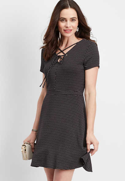 24/7 strappy neck dot print dress