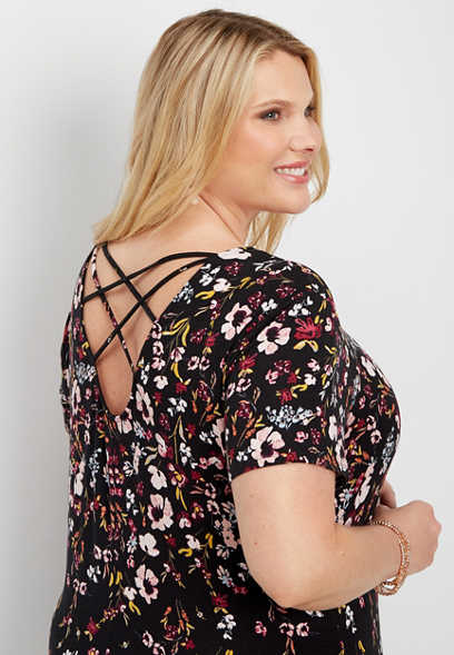 plus size 24/7 strappy back floral shirtdress