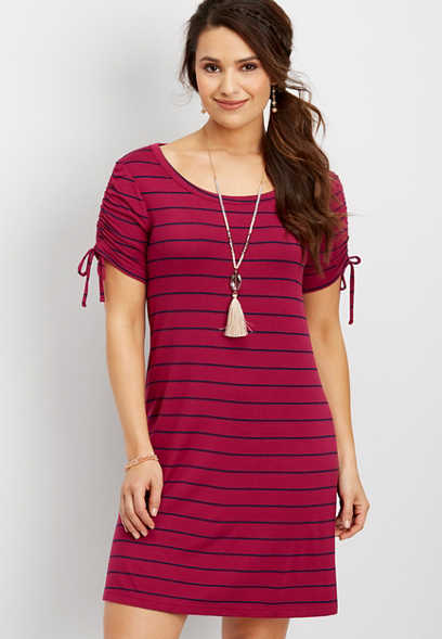 24/7 ruched sleeve striped shirtdress