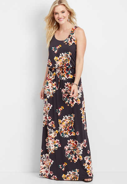 24/7 lattice back floral maxi dress