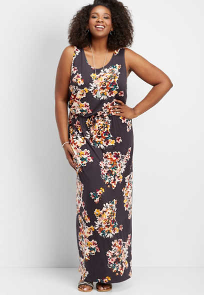plus size 24/7 lattice back floral maxi dress