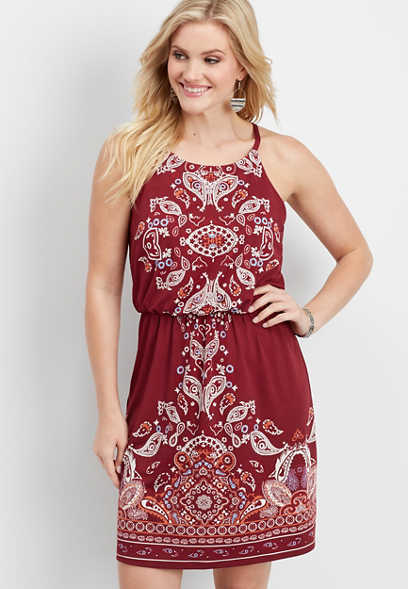placement print cinched keyhole dress