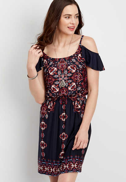 ruffled cold shoulder patterned dress