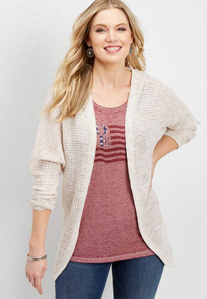 textured hooded cardigan