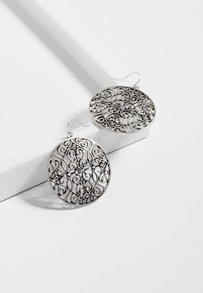 large medallion scroll earrings