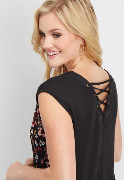 lace up back floral tee