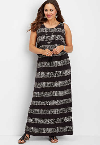 plus size 24/7 chevron maxi dress