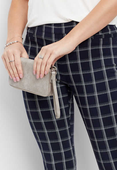 navy plaid pull on skinny ankle pant